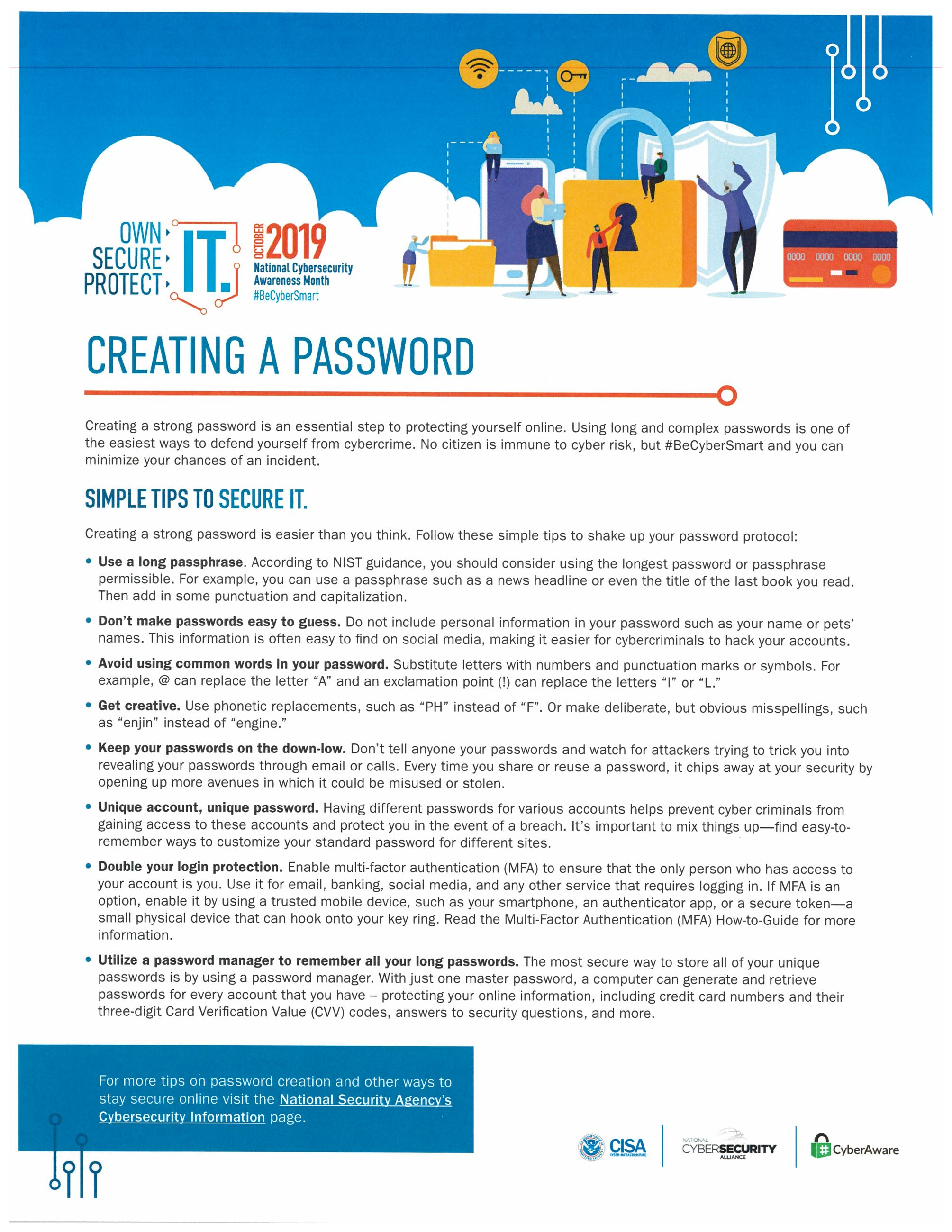 CREATING A PASSWORD training material