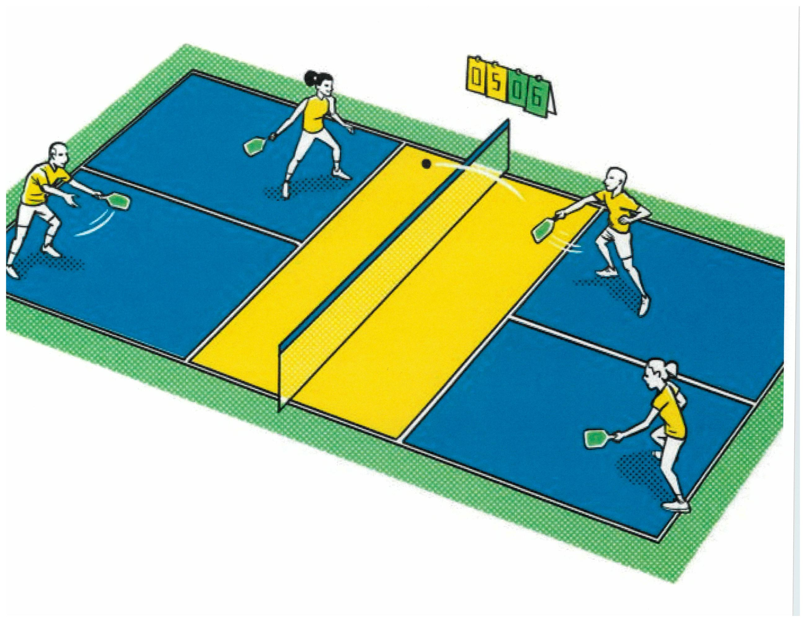 four people playing couples pickleball