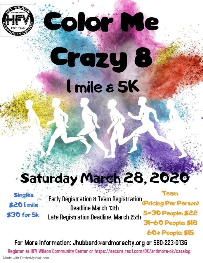 flyer for color me crazy 8 with runner and colors