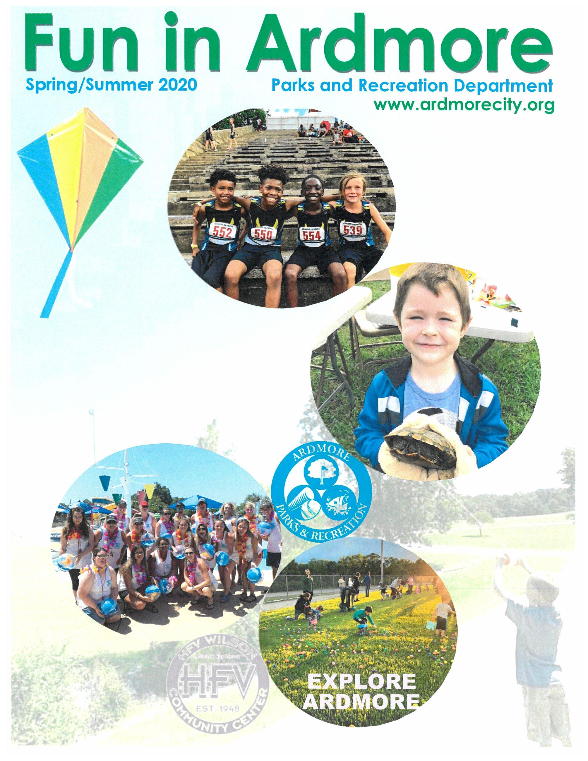 2020 spring brochure cover showing children and summer activities