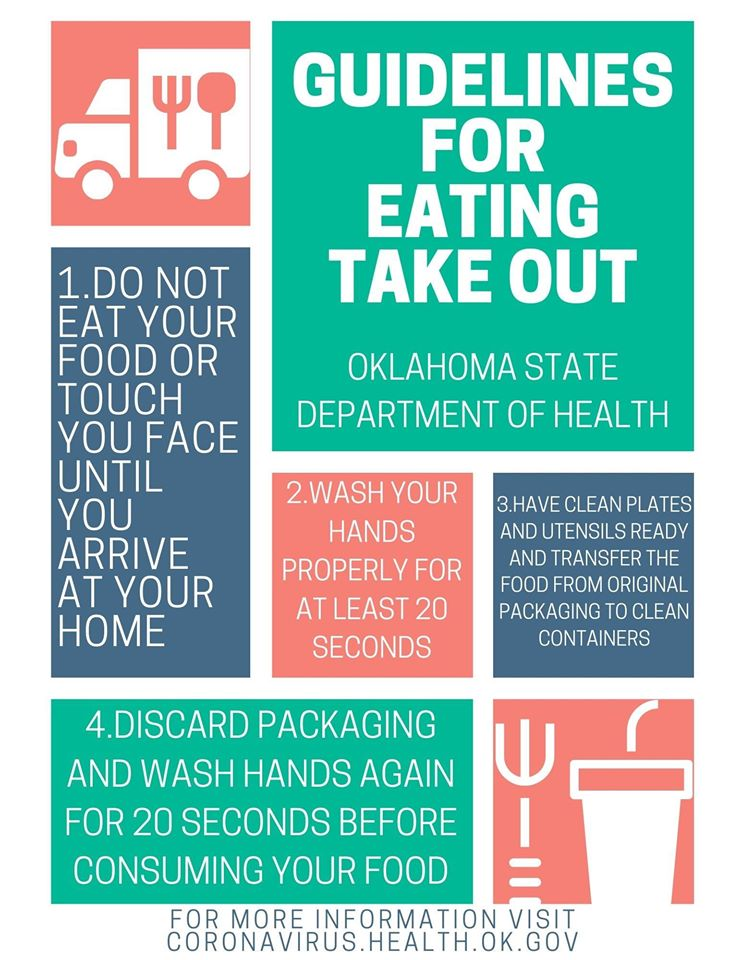 poster of safety guidelines for eating take out