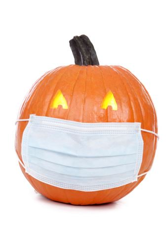 pumpkin wearing safety mask