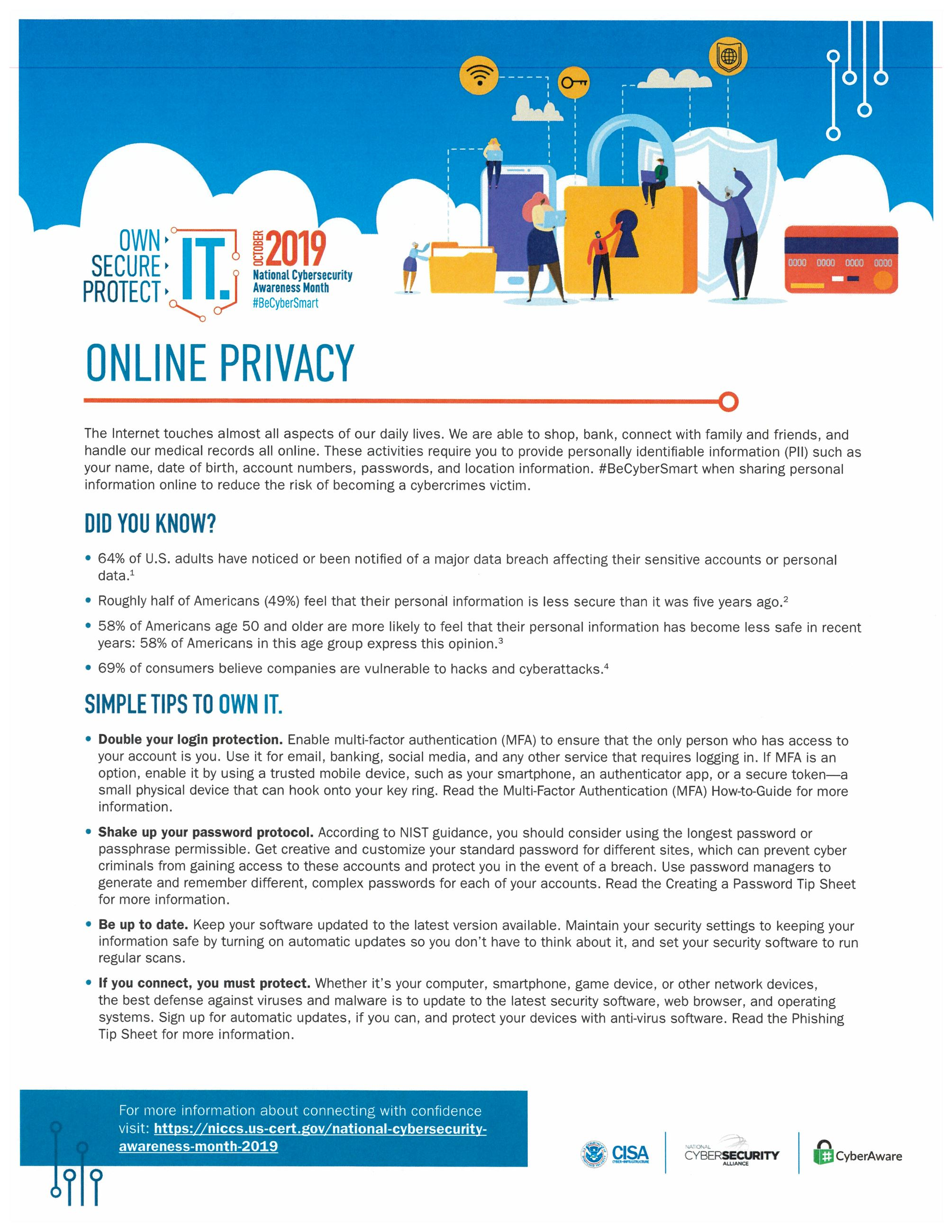 First page of online privacy training material
