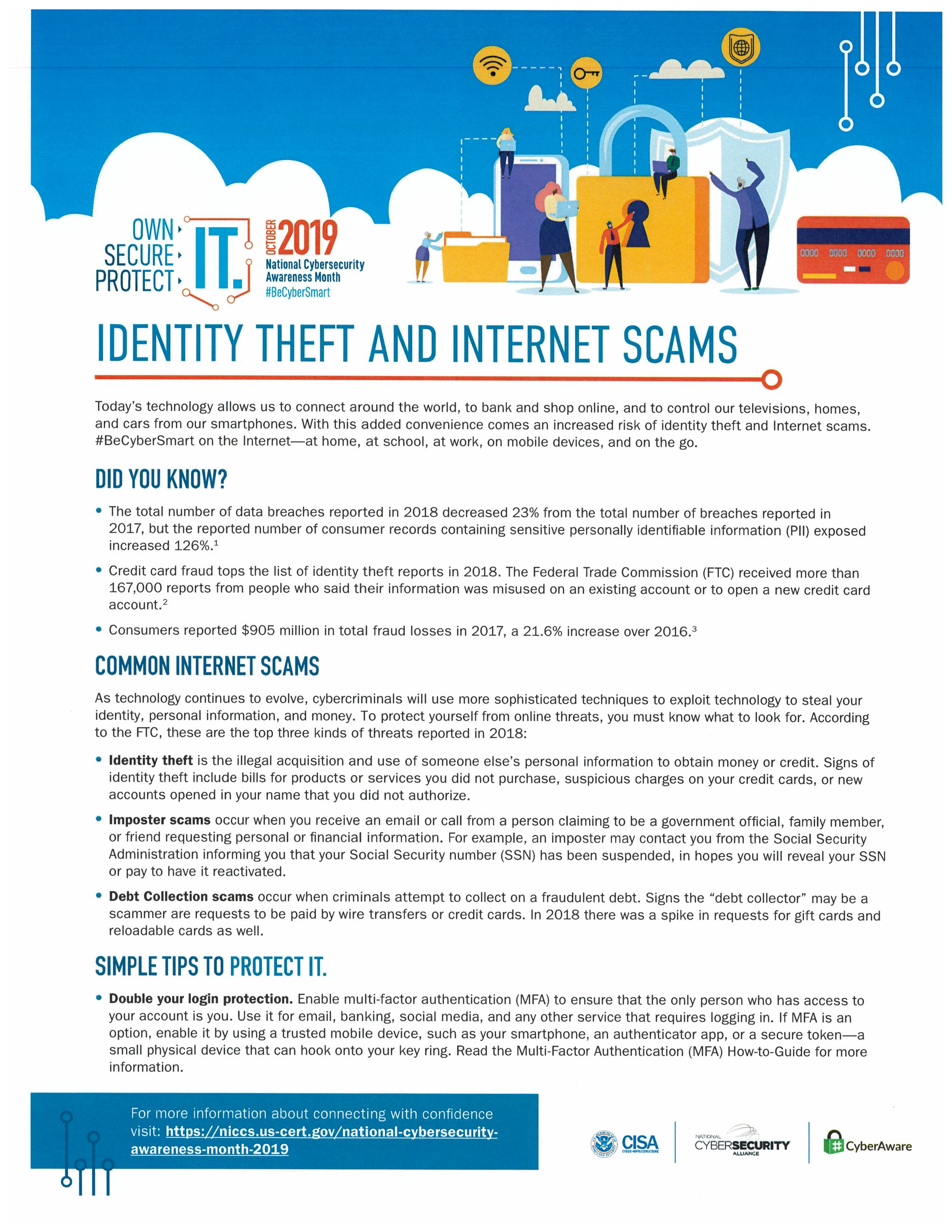 first page of identity theft training material