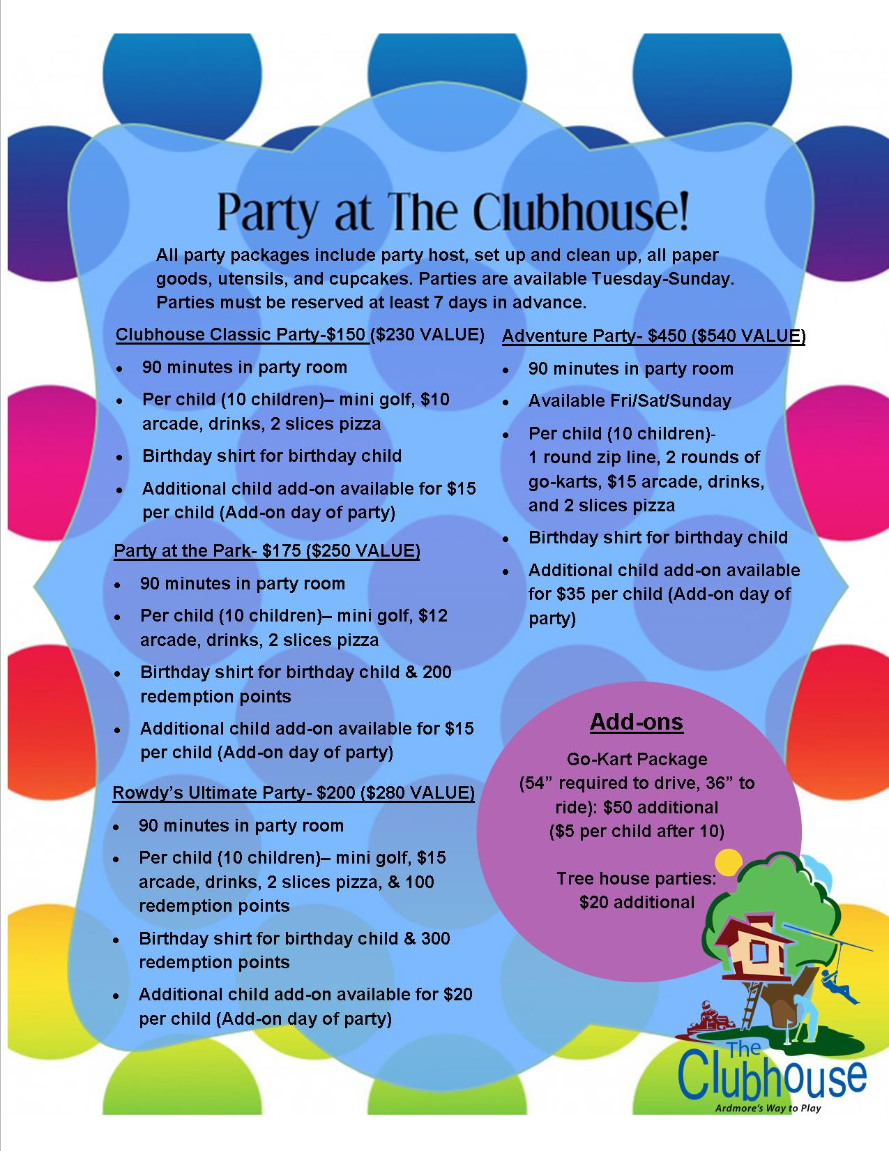 Party Packages- Updated