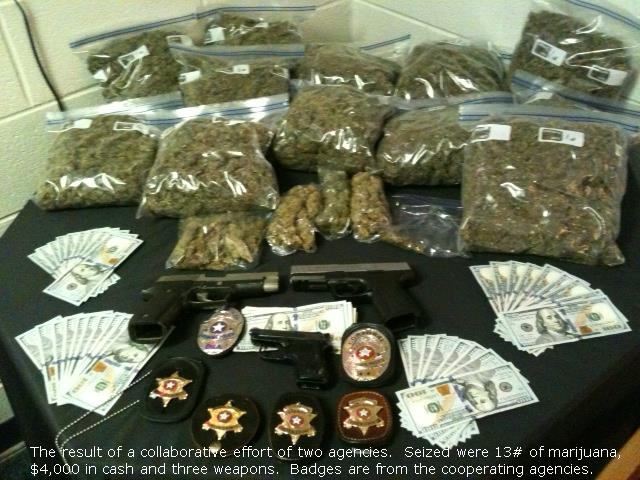 photo of narcotics, money and weapons